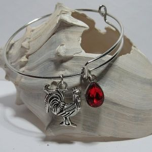 Red Chicken Rooster Adjustable Charm Bracelet